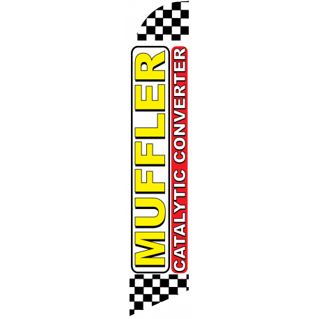 Muffler Catalytic Converter Feather Flag White Checkered 12ft Poly Knit width=