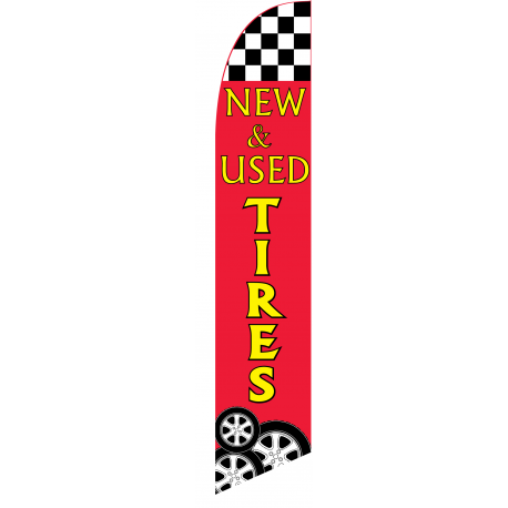 New and Used Tires feather flag red width=