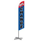 Oil Change feather flag blue-red
