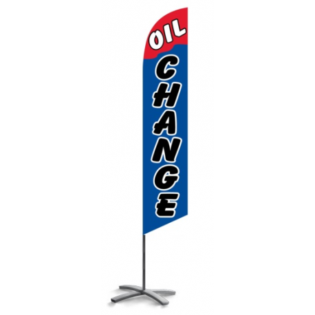 Oil Change feather flag blue-red width=