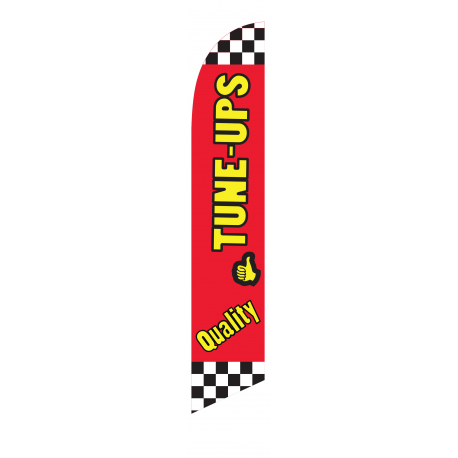 Quality Tune Ups Feather Flag Red & Yellow 12ft Poly Knit width=