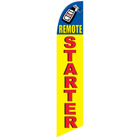 Remote Starter Feather Flag Yellow & Blue 12ft Poly Knit width=