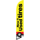 New Used Tires feather flag yellow