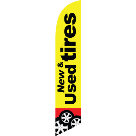New Used Tires feather flag yellow width=