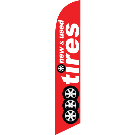 New Used Tires feather flag red width=