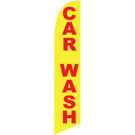 Car Wash feather flag yellow width=