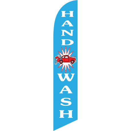 Hand Wash feather flag blue width=