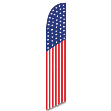 American 50 Star Feather Flag Patriotic 12ft Poly Knit width=