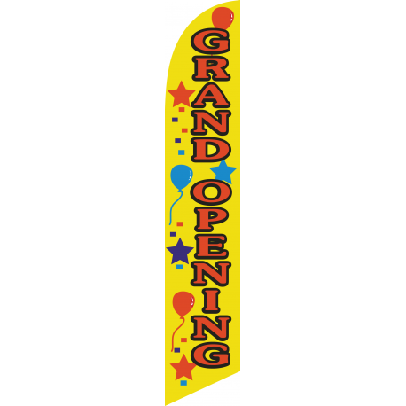 Grand Opening Feather Flag yellow 12ft Poly Knit width=