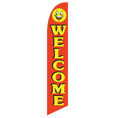 Welcome happy face feather flag width=