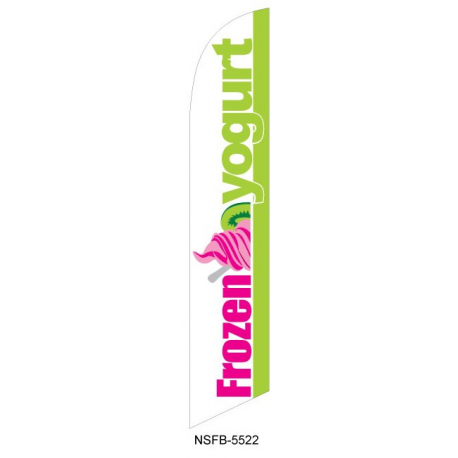 Frozen Yogurt Feather Flag White & Green 12ft Poly Knit width=