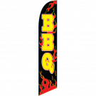 BBQ Flames Feather Flag Black 12ft Poly Knit