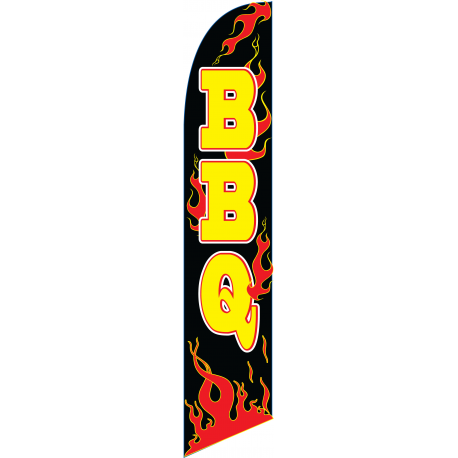 BBQ Flames Feather Flag Black 12ft Poly Knit width=