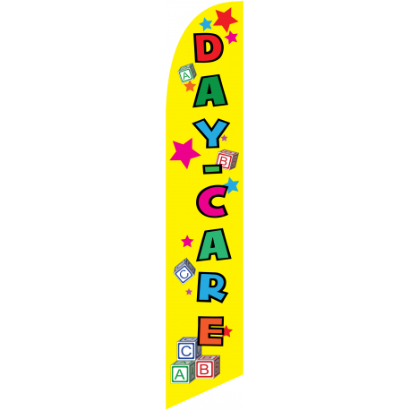 DayCare Feather Flag Yellow 12ft Poly Knit width=