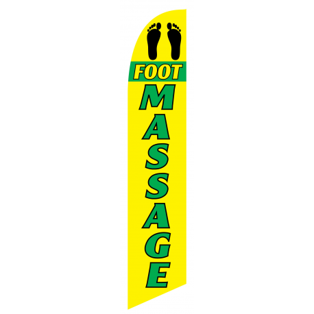 Foot Massage Feather Flag Yellow & Green 12ft Poly Knit width=