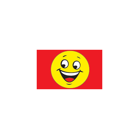 Happy Face Flag 3x5 yellow-red width=