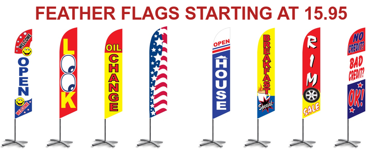 Feather flags starting at 13.95